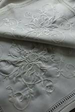 "Antique white Irish linen tablecloth with excellent hand embroidery  - 33"" sq."