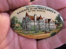 """AWESOME ANTIQUE CELLULOID MIRROR """"KNIGHTS OF THE MACCABEES OF THE WORLD"""" DETROIT"""