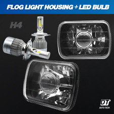 """7""""X6"""" inch Projector Sealed Beam Headlight Conversion Smoke Lens + H4 CREE LED"""