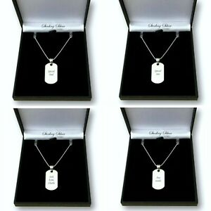 Engraved Dogtag Necklace, Sterling Silver, Personalised, for Man or Boy, Small