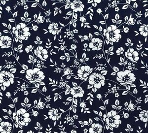 Royal Blue Floral Fabric Rose & Hubble 100% cotton fabric Metre or 1/2 Metre