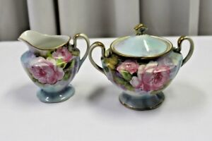 Antique Nippon Cream & Sugar Set Hand Painted Roses on Blue Gold Accents