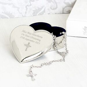 PERSONALISED 1st First Holy Communion Rosary Beads Heart Trinket Box Gift