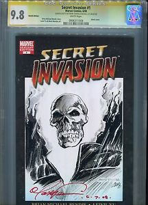 Secret invasion#1 CGC 9.8 Signed and Sketch By Mark Teixeira and Michael Lily