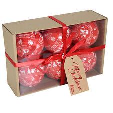 Caja de 6 Navidad polyespuma 75mm BOLAS - Rojo Árbol / RENO