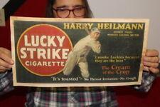 "Vintage 1940's Lucky Strike Cigarettes Tobacco Baseball Harry Heilmann 17"" Sign"
