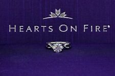 Hearts on Fire Platinum Diamond Engagement Ring Round 1.23 tcw Twist Solitaire