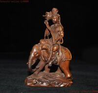 China Buddhism Boxwood wood carve Ride Elephant Samantabhadra Bodhisattva Statue