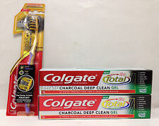 Colgate Total 12h Charcoal Deep Clean Gel Toothpaste 150gx2 + Gold Toothbrush x1