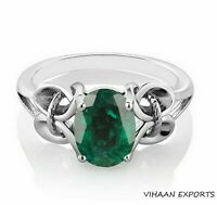 925 Sterling Silver Natural Colombian Emerald Oval Shape Anniversary Ring Sale