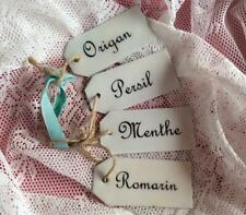 FOUR GORGEOUS ENAMEL FRENCH HERB LABELS MINT PARSLEY OREGANO & ROSEMARY