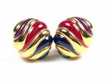 Joan Rivers Gold Tone Red Green Blue & Purple Enamel Striped Clip On Earrings