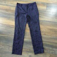 M&S Size 10 Black Purple Floral Slim Pencil Capri Trousers Party Xmas Womens