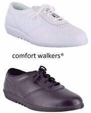 Ladies NHS Flat Comfy White Black Leather Casual WASHABLE Shoes Sizes 3 - 9 UK