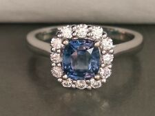 18CT WHITE GOLD BLUE SAPPHIRE & DIAMOND CLUSTER STYLE RING!