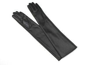 Black Faux Leather Women's Long Arm Sleeve Gloves