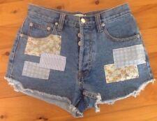 Mink Pink 10 Women's Shorts PreLoved Denim Button Fly Patches