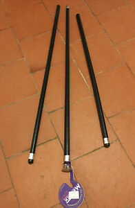 3 Black Showing Canes / Cane, 2 Plain, 1 Tipped. Made In England. New