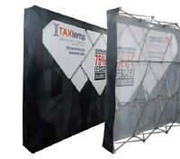10ft Straight Pop Up Fabric Display Trade Show Backdrop Wall Stand Frame+Graphic