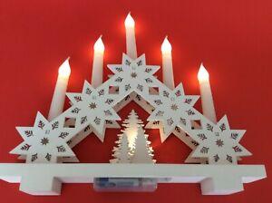 One Christmas White Snowflake Wooden 5 Candle Bridge - Window Decoration