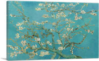 Branches with Almond Blossom Teal Rectangle Canvas Art Print Vincent Van Gogh