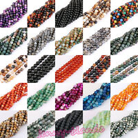 Multi Type Natural Round Spacer Agate 1 Strand Beads Craft  Finding 4-12mm DIY