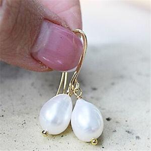 12-13mm white Baroque pearl earrings 18k gold hook Women fashion Accessories