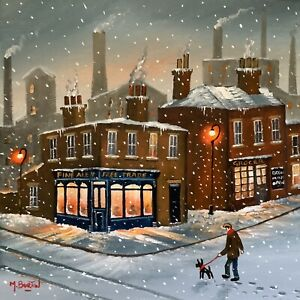 MAL.BURTON ORIGINAL OIL PAINTING. CALL FOR A HOT TODDY BOY  NORTHERN ART DIRECT