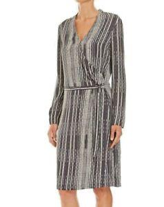 BNWT RRP$269 SABA Cross Stitch Print Long Sleeved Dress Size 8 14 Black