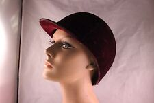 VINTAGE MAROON VELVET RIDING CAP (HORSEBACK RIDING)