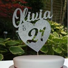 Custom Personalised Birthday Heart Glitter Cake Topper with Any Name & Age