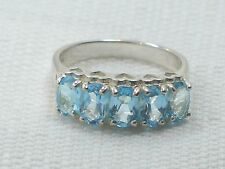 Estate Vintage Sterling Silver CNA Signed Blue Topaz Pyramid Hearts Ring