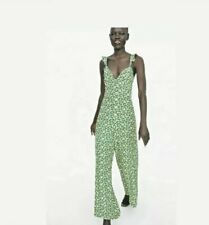 Zara Green Floral Strappy Jumpsuit Size UK M Summer Blogger