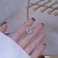 925 Silver Crystal Zircon Moon Star Bracelet Bangle Adjustable Women Jewelry Hot