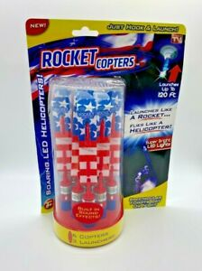 New As Seen On TV Rocket Copters Outdoor PATRIOTIC LED Toys 6 Copters 3 Launcher