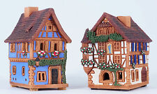Ceramic houses incense burners 'Houses in France' (2pcs) 9 cm, © Midene