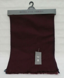 MEN'S MARKS AND SPENCER BURGUNDY EXTRA FINE MERINO WOOL SCARF ONE SIZE