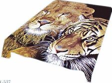 Brand New tiger-lion head print Queen size Luxury blanket