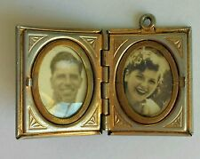 Antique Victorian silver Onyx Double two photo Locket Pendant USED engraved