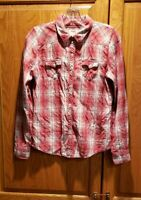 Levis Youth Red Plaid Western Flannel Snap Button Long Sleeve Shirt Size XL