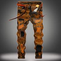 New Men's Long Classic Holes Jeans Straight Leg Slim Casual Denim Pants Trousers
