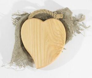 HANDMADE French Country Wood Ash & Linen Trivet Hot Pot Stand HEART 8in-20cm