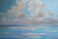 """ABSTRACT ORIGINAL LARGE MODERN CLOUDS OCEAN 1 1/2"""" 24x36 PAINTING WALL ART"""
