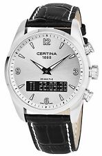 Certina Men's DS Multi-8 Silver Dial Black Leather Strap Watch C0204191603700