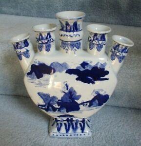 "Chinese Oriental Blue White Porcelain Tulipiere 5 Finger Vase 11 3/4"""