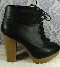 Womens Black Platform Ankle Boots Size 8 Lace Up Vegan Faux Leather High Heels