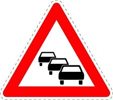 Traffic Signs Queues Likely Safety Adhesive Sticker 150mm x 150mm TR063
