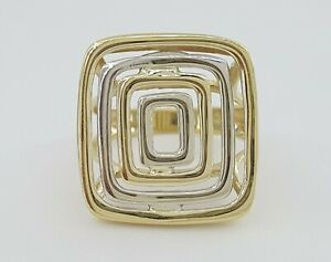 14k 2-Tone Gold Rectangle Coil Italian Made Statement Ring 5.9 Grams Size 6.25