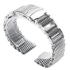 Silver 22mm Stainless Steel Wrist Watch Band 316L Link Men Shark Mesh Bangle