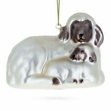 Sheep Family Glass Christmas Ornament